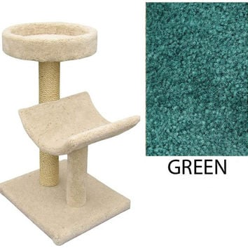 "Two  Level Cat House -Cradle & Perch - Green (Green) (37""H x 26""W x 20""D)"