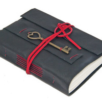 Black Leather Wrap Journal with Key Bookmark - Ready to ship