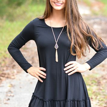 Double the Fun Black Ruffle Top Curvy Sizes