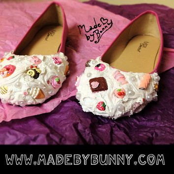 Adorable Yummy Deco Den Candy Kawaii Lolita Fashion Cute Dessert Charms Flat Shoes for Children and Adults