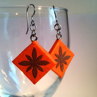 Orange Diamond Hanji Paper Earrings Dangle Flower Design Hypoallergenic hooks Lightweight Ear rings