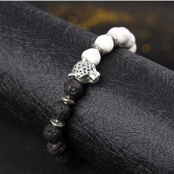ONETOW Explosive natural black line loose volcanic stone hand string round Buddha beads lion leopard head bracelet jewelry