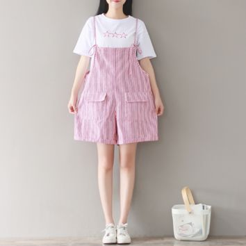 LOOSE TONES PINK STRIPED STRAP PANTS WITH SHORTS + T-SHIRT