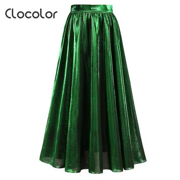 Clocolor Women Skirt Green Pleated Solid High Waist Ankle LengtSummer Autumn Fashion Vacation Cheap Tulle Skirt Women Long Skirt