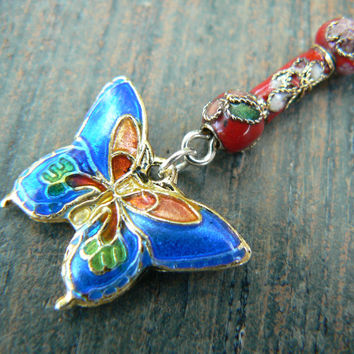 cloisonne butterfly belly ring blue and red cloisonne beads