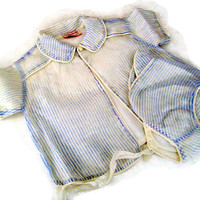 Vintage Baby Jacket and Bonnet 50's Orlon and Nylon Blue and White Pinstripe