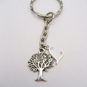 Tree Keychain Tree Of Life Keychain Personalized Keychain Initial Keychain Customized Gifts Under 10 Nature Lover Gift Campers Keychain
