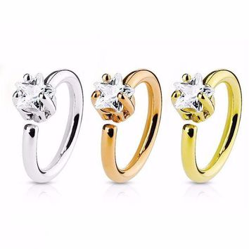 ac PEAPO2Q 1Pcs Fashion Stainless Steel Nose Hoop Ring Shellhard Small Thin Star Crystal Rhinestone Nose Rings For Women Body Jewelry