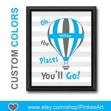 personalized hot air balloon kids wall art dr seuss nursery decor oh the place you'll go nursery blue gray playroom art boys room name art