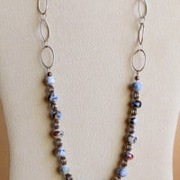 Boiled Lampwork Beads and Sterling Silver Necklace, Statteam