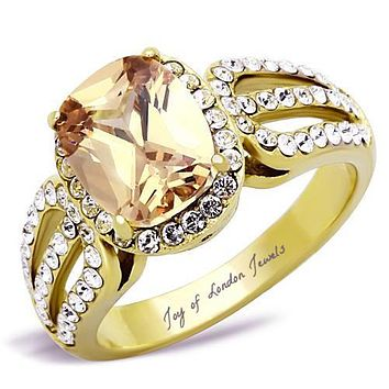 A Perfect 14K Gold 3CT Oval Cut Golden Russian Lab Diamond Halo Ring