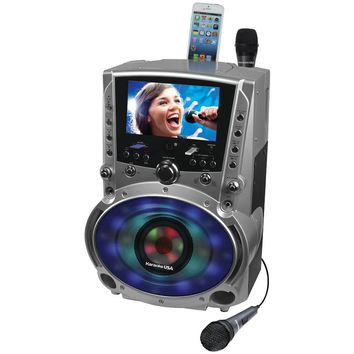 "Karaoke Usa Dvd And Cd+g And Mp3+g Bluetooth Karaoke System With 7"" Tft Color Screen & Led Sync Lights"