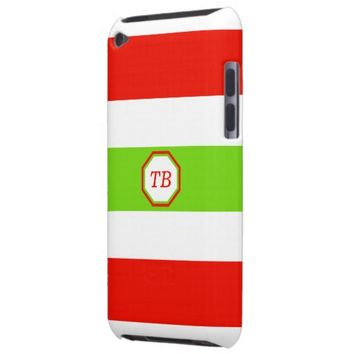 Stripes White Red Green iPod Case-Mate Cases