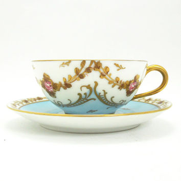 Vintage Limoges France demitasse mini tea cup - Hand-painted decor main blue gold leaf garland trim rose flowers - Excellent condition