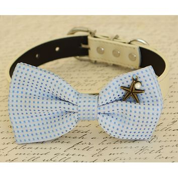 Blue Dog Bow tie attached to collar, beach wedding