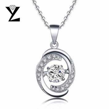 YL Silver Round 925 Sterling Natural Topaz Stone Necklaces for Women Fine Jewelry Accessories Sterling Silver Jewelry