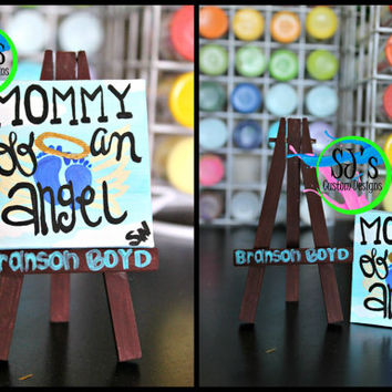 Mommy of an Angel mini canvas: Gender Neutral, Baby Boy, Baby Girl, Twins, or Multiple child loss memorial painting.