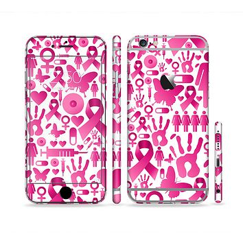 The Pink Collage Breast Cancer Awareness Sectioned Skin Series for the Apple iPhone 6/6s Plus