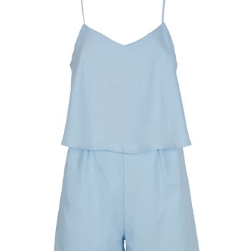 Light Blue Ruffle Overlay Keyhole Back Cami Romper Playsuit
