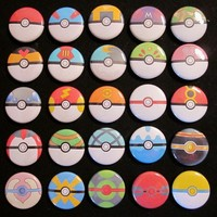 1 inch Button set of all 26 Pokeballs