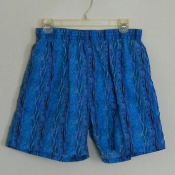 Swim Trunks 90s Vintage / Teal Purple Tribal Mens Board Shorts Size Medium Elastic Waist Pockets Late 80s