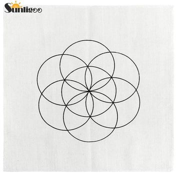 Printed Flower of Life / Metatron's Cube / Seed of Life Sacred Geometry Crystal Grids Altar Cloth