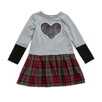 Pippa & Julie Girls 2-6x Plaid and Sequin Fit and Flare Dress