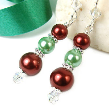 Pearl Christmas Earrings Red Green Holiday Jewelry Crystals Handmade