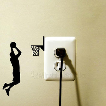 Basketball Player Light Switch Fabric Decal - Sports wall Sticker - Jumping Man Decor - Dunking Laptop Decal - Basketball Gift - Bedroom Art