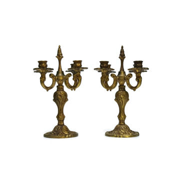 Antique French Candelabras. Brass Candlesticks. Antique Brass Candle Holders.