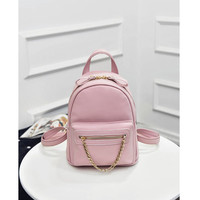 Pink Faux Leather Chain Accent Zipper Closure Backpack