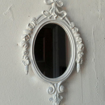 Decorative Mirror in Vintage Bright White Frame - Revived Vintage