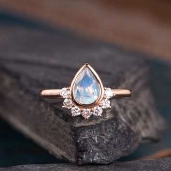 Moonstone Engagement Ring Pear Shaped Ring Bridal Diamond Half Halo ring