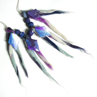 Blue and purple, fiber necklace, polymer clay beads, fiber jewelry, polymer clay necklace, felt jewelry