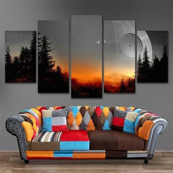 Star Wars Death Star Tie Fighters Landscape Five Piece Canvas