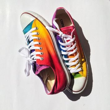 Custom Rainbow Tie Dye Custom Converse Shoes
