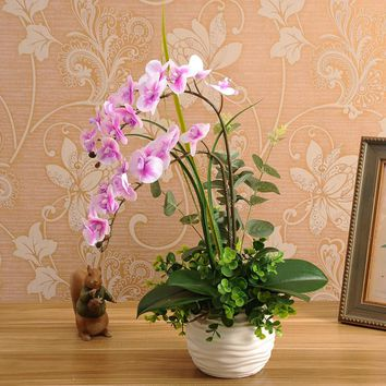 1set  silicon real touch artificial orchid  flower arrangement mini  bonsai flower only no vase