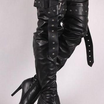 Black Smooth Leather Over The Knee Leather Buckle High Heel Motorcycle Boot
