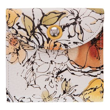 Molara-Saffiano Leather MIni Wallet-Handpainted Yellow Flowers