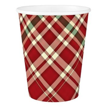 Christmas Plaid 17-PAPER CUPS