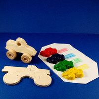 Monster Truck Party Favors - Deluxe Gift Pack - Wood Toy Monster Truck - Monster Truck Shaped Crayons - Wood Monster Truck Puzzle