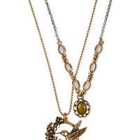 Lucky Brand Necklace, Gold-Tone Hummingbird Double Necklace - Fashion Necklaces - Jewelry & Watches - Macy's
