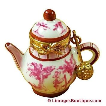PINK TOILE TEAPOT LIMOGES BOXES