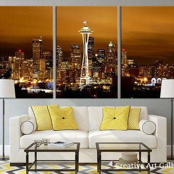 Seattle Night City Canvas Print - Seattle City Panorama City View Art Print - Black and White Seattle Canvas Print, Grayscale City Print