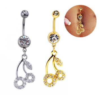 Lovely cherry full zircon belly button ring antiallergic Navel Belly Ring-0429-Gifts box