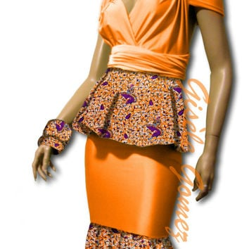 African Print Infinity Convertible Peplum Wrap Blouse Plus Mermaid Skirt - Free Bandeau/Bra and Bow-ties – Orange 4-Piece Set - Made in USA