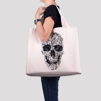 Doodle Skull Tote Bag, Large Canvas Beach Bag, Black And White Skull Print Over Sized Bag