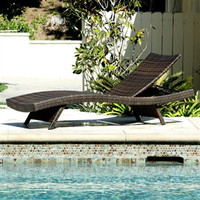 Outdoor Adjustable Chaise Lounge in Weather Resistant Brown Wicker