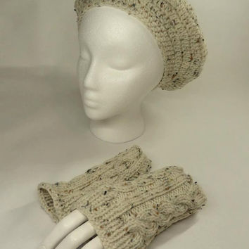 Set Slouchy Hat And Fingerless Gloves Reserved do by toppytoppy