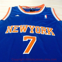 Carmelo Anthony New York Knicks 7 NBA Jersey Blue Super Rare Carmelo Anthony Sports Basketball All Stitched and Sewn Any Size S - XXL